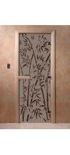 Дверь для бани и сауны Бамбук и бабочки черный жемчуг матовая