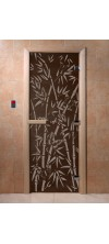 Дверь для бани и сауны Бамбук и бабочки черный жемчуг