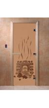 Дверь для бани и сауны Банька бронза матовая