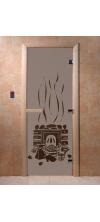 Дверь для бани и сауны Банька черный жемчуг матовая