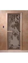 Дверь для бани и сауны Березка черный жемчуг матовая