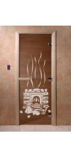 Дверь для бани и сауны Банька бронза