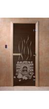 Дверь для бани и сауны Банька черный жемчуг