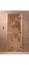 Дверь для бани и сауны Береза бронза матовая