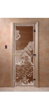 Дверь для бани и сауны Банька в лесу бронза