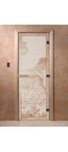 Дверь для бани и сауны Банька в лесу сатин