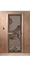 Дверь для бани и сауны Банька в лесу черный жемчуг матовая