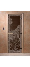 Дверь для бани и сауны Банька в лесу черный жемчуг