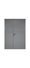 Влагостойкая дверь ПВХ Etadoor ДГ Cветло-серый RAL 7035 двустворчатая разнопольная