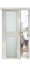 Раздвижная дверь QDO D со стеклом ясень жемчуг