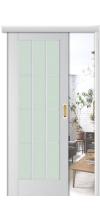 Раздвижная дверь купе 102Х со стеклом пекан белый